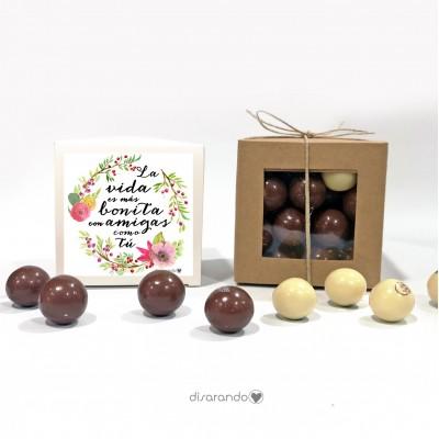 """Caja Bombones Chocolate """"La vida es más bonita con amigas como tú"""""""