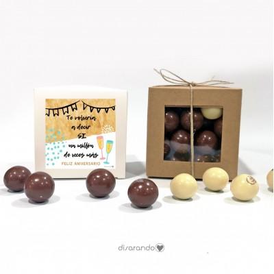 """Caja Bombones Chocolate """"Feliz Aniversario"""""""