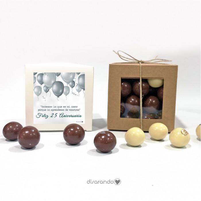 "Caja Bombones Chocolate ""Bodas Plata"""