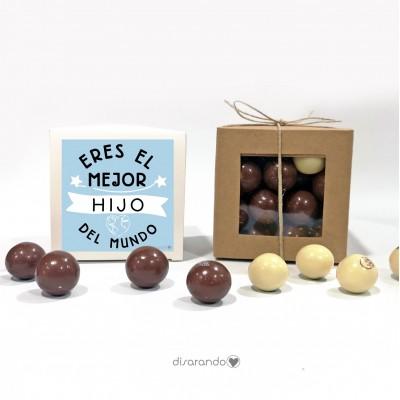 """Caja Bombones Chocolate """"Eres el mejor hijo del mundo"""""""