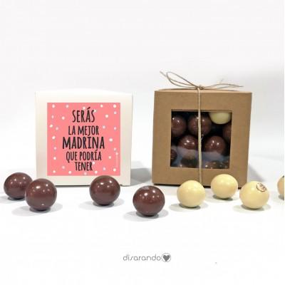 """Caja Bombones Chocolate """"Serás la mejor madrina que podría tener"""""""