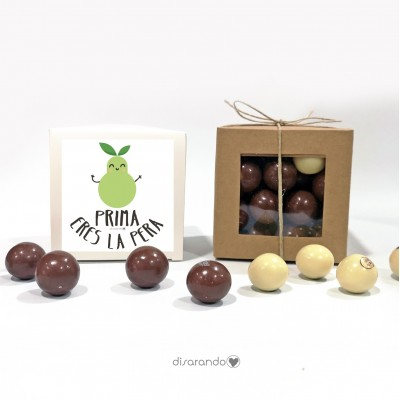 "Caja Bombones Chocolate ""Prima, eres la pera"""