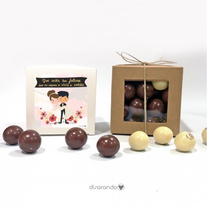 """Caja Bombones Chocolate """"Recien Casados"""""""