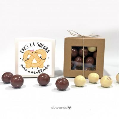 """Caja Bombones Chocolate """"Eres la suegra más enrollada"""""""