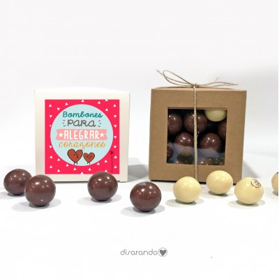 "Caja Bombones Chocolate ""Bombones para alegrar corazones"""