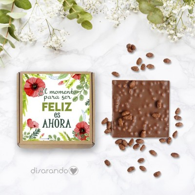 """Tableta chocolate """"El momento para ser feliz es ahora"""""""