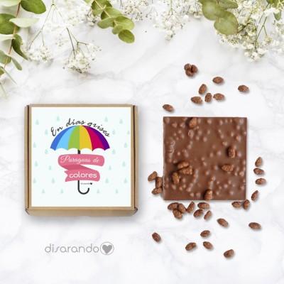 """Tableta chocolate """"En dias grises paraguas de colores"""""""