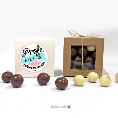 "Caja Bombones Chocolate ""Profe eres de sobresaliente"" (rosa)"