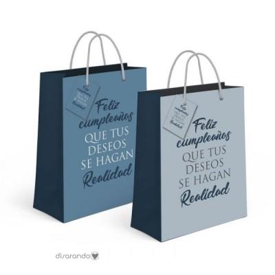 """Bolsa regalo Mensajes Positivos """"Feliz Cumpleaños (azul)"""""""