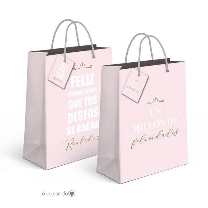 Bolsa regalo Mensajes Positivos Rosa & Oro