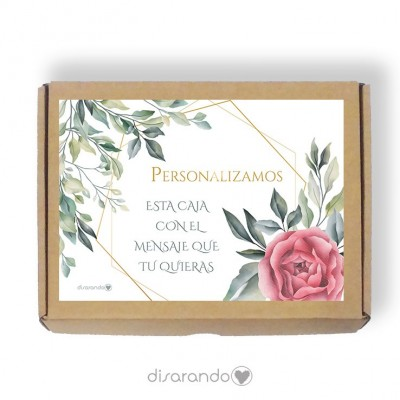 Caja Personalizable 03 Rose & Green (Rectangular o Picnic)
