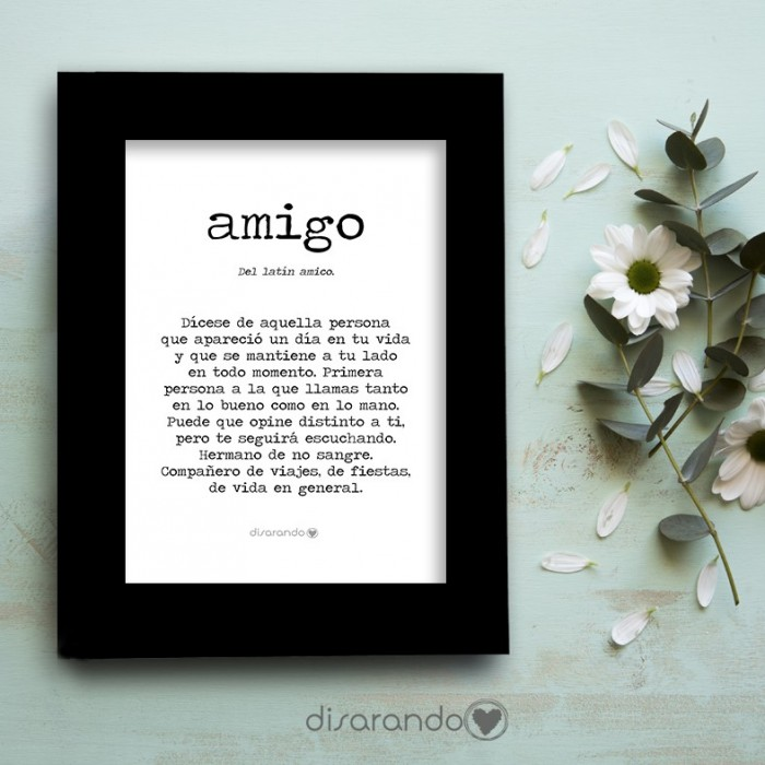 "Marco fotos + lámina ""Definición Amigo"""