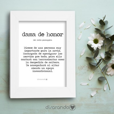 "Marco fotos + lámina ""Definición Dama Honor"""
