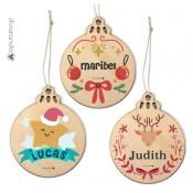 Bola Navidad Madera Pequeña Personalizable (Varios modelos)