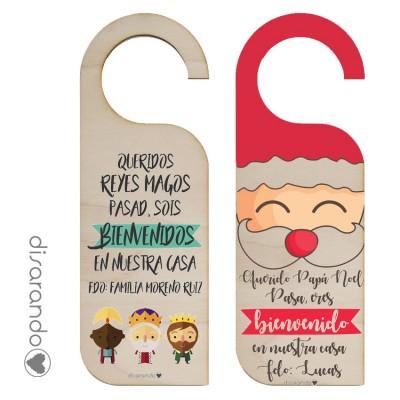 Colgador Madera Doble Navidad (personalizable)
