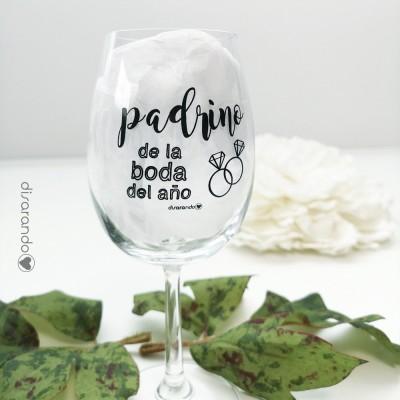 """Copa Vino Mensaje """"Padrino de la Boda del año"""""""