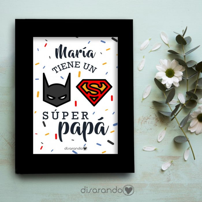 "Marco fotos + lámina ""Superpapa"" Personalizable"