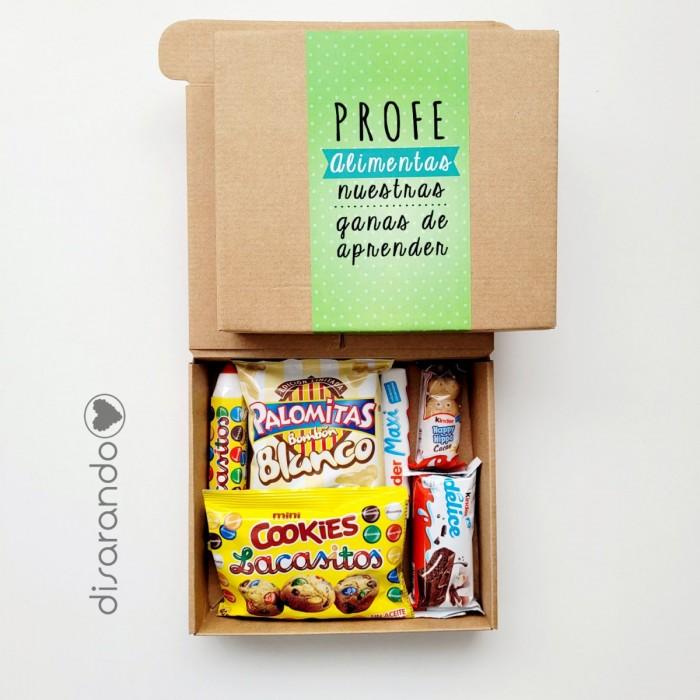 "Caja dulce ""Profe alimentas mis ganas de crecer"" (Personalizable)"