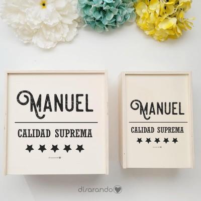 """Caja Madera Personalizable """"Estrella"""" (dos tamaños)"""