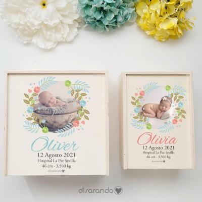 "Caja Madera Personalizable ""Foto Baby"" (dos tamaños)"