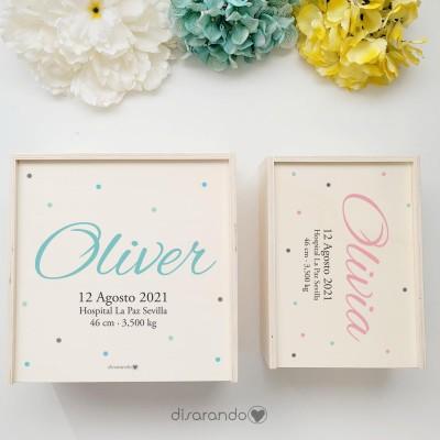 "Caja Madera Personalizable ""Lunares"" (dos tamaños)"