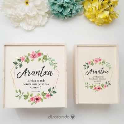 """Caja Madera Personalizable """"Flores Rose&Gold"""" (dos tamaños)"""