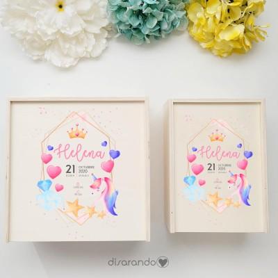 """Caja Madera Personalizable """"Unicornio"""" (dos tamaños)"""