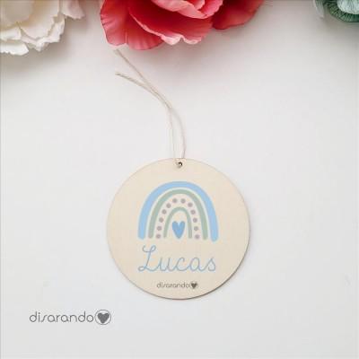 Etiqueta Madera Personalizable (Arco iris, azul)