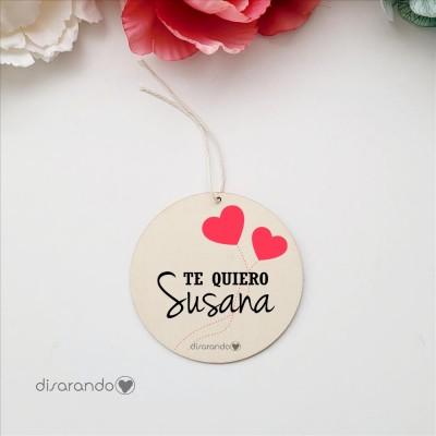 Etiqueta Madera Personalizable (Corazones)