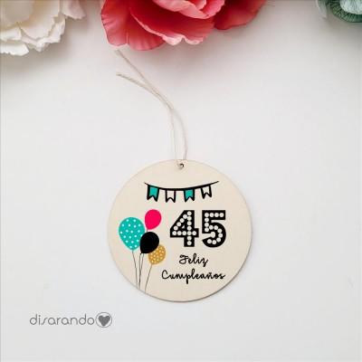 Etiqueta Madera Personalizable (Cumpleaños)
