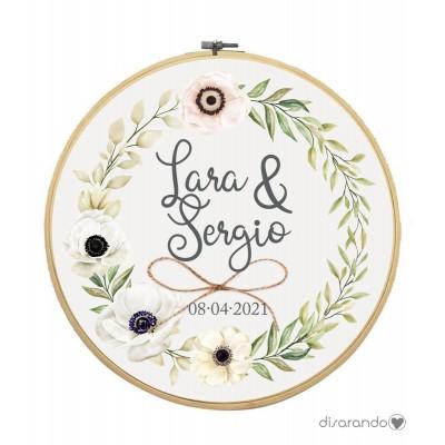"Bastidor Madera Flores ""Beig"""