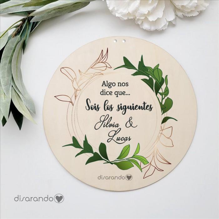 Placa Madera Flores (varios modelos)