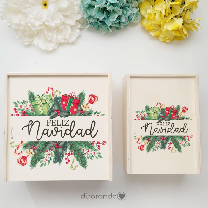 "Caja Madera Personalizable ""Navidad Flower"" (dos tamaños)"