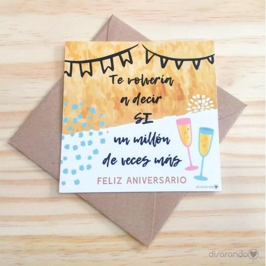 Tarjetas aniversario tarjeta felicitaci n para for Regalos de aniversario de bodas para amigos