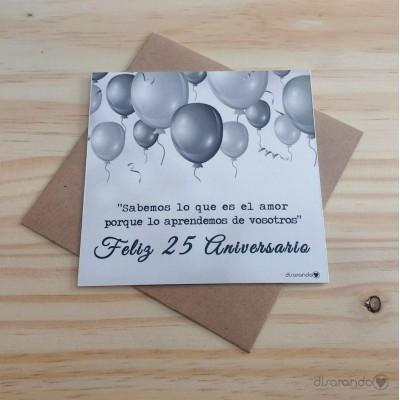 """Tarjeta """"Bodas de plata, 25 Aniversario"""""""
