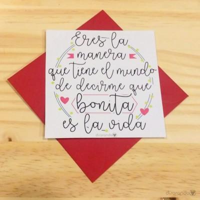 """Tarjeta """"Vida Bonita"""""""