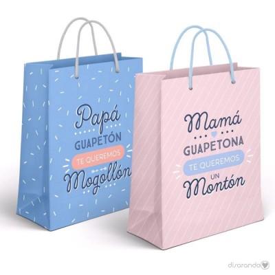 """Bolsa regalo MINI """"Papá guapetón te queremos un montón"""""""