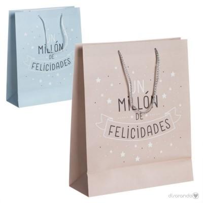 """Bolsa regalo """"Un millón de felicidades"""" (rosa)"""