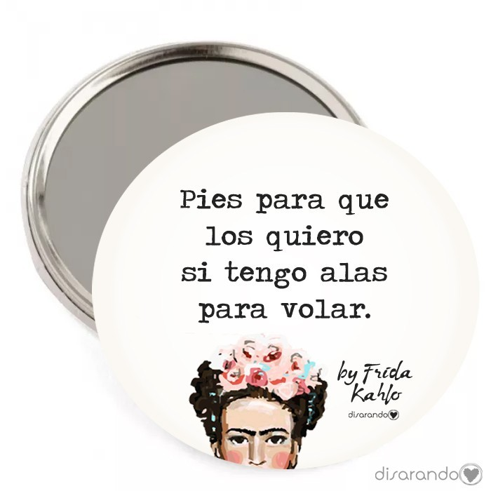 """Espejo Frida Kahlo """"Pies para que los quiero si tengo alas para volar"""""""