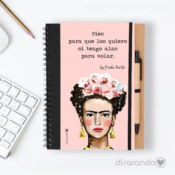 """Libreta Frida Khalo """"Pies para que los quiero si tengo alas para volar."""""""
