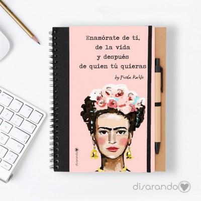 """Libreta Frida Khalo """"Enamórate de ti, de la vida... """""""