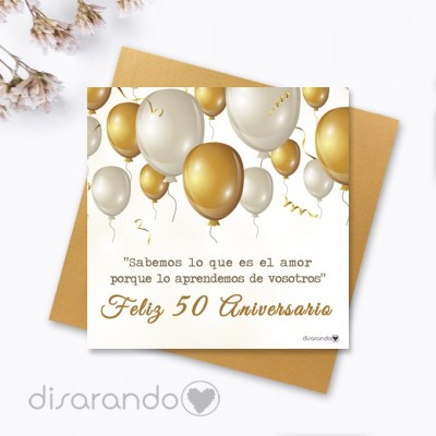 """Tarjeta """"Bodas de oro, 50 Aniversario"""""""