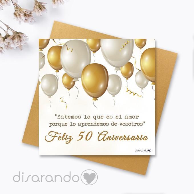 Bodas De Oro 50 Aniversario Tarjetas Aniversario Tarjeta Felicitación Para Aniversario De Boda Regalos Aniversario