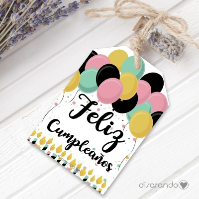 """Etiqueta regalo """"Feliz Cumpleaños"""""""