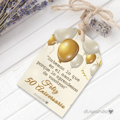 Etiqueta regalo Bodas Oro