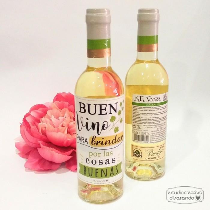 """Botella Rueda """"Buen bino para... """""""