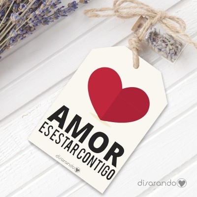 "Etiqueta regalo ""Amor es estar contigo"""