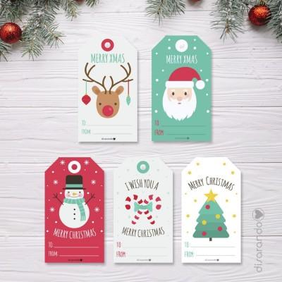 Etiquetas Navidad (5ud)