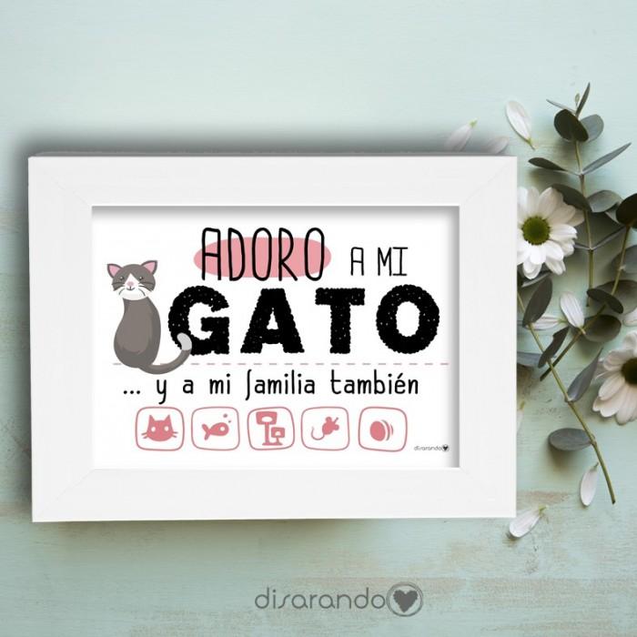"""Marco fotos + lámina """"Adoro a mi gato"""""""