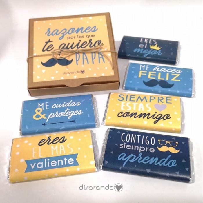 """Caja Chocolates """"Razones por las que te quiero papá"""""""